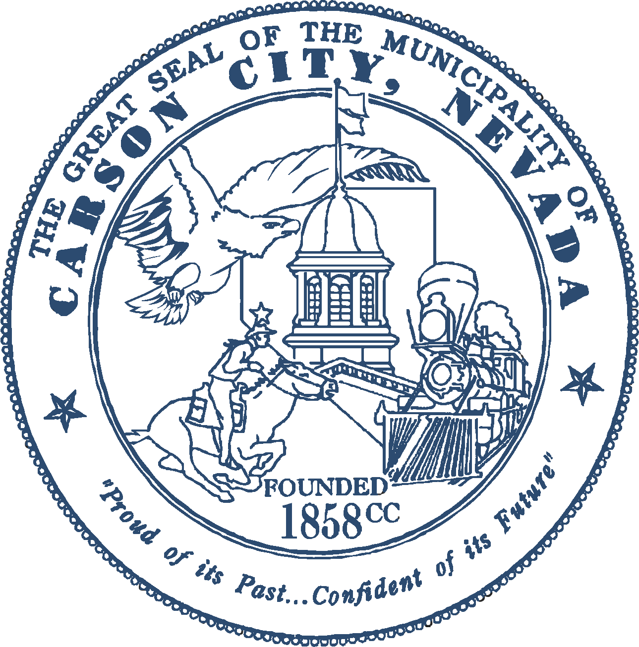 The great seal of the Municipality of Carson City. Imaging the Capitol Building, a soaring hawk, the train system, and a cowboy.