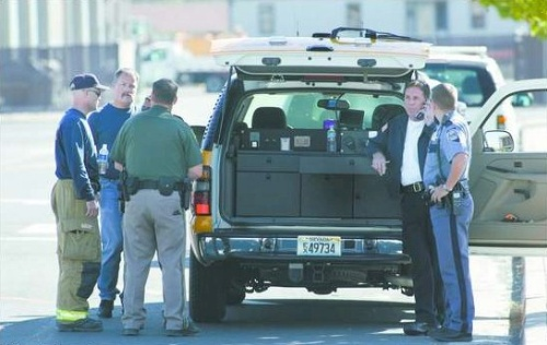 Emergency personnel evacuated the Department of Public Safety building on September 28, 2006 after reports of a strong noxious odor. Officials determined the fumes originated at the Carson Mall where crews were sealing the parking lot.  Photo credit - Cathleen Allison/Nevada Appeal