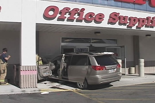 An elderly driver lost consciousness and slammed into the front wall of Office Depot on October 25, 2006, causing damage to the structure and forcing inspectors to close the business down.  Photo credit - Dave Morgan/NewsCarsonCity.com