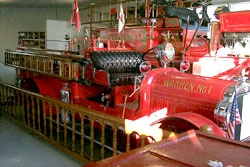 Warren Engine Company No. 1 Seagrave engines.  Upper engine is a 1913 model while the lower engine, which still operates, is a 1927 model.