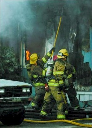 Carson City Firefighters during suppression operation on January 17, 2008.  Photo credit - Nevada Appeal