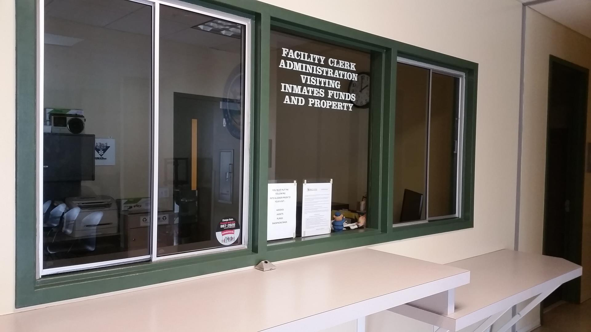 Administration Desk Accepts Inmate Funds and Property