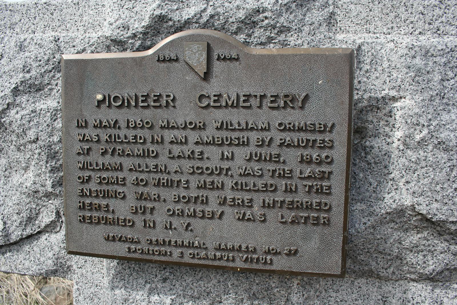 Pioneer Cemetery Plaque