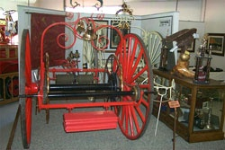 Swift (left) and Curry (right) engine companys' hose carts on display at the Warren Engine Company No. 1 Fire Museum.