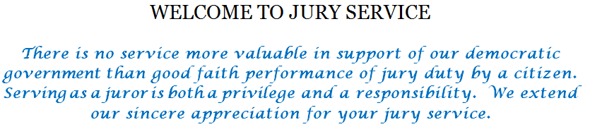 Welcome to jury service