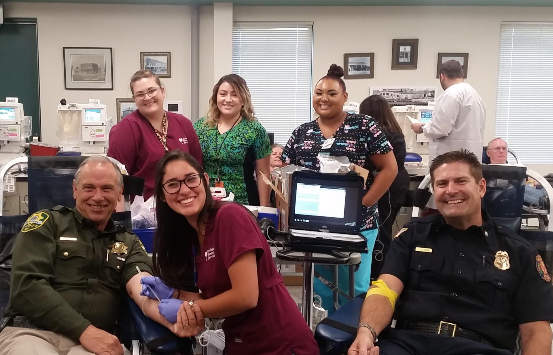 Carson City Fire Chief Sean Slamon and Sheriff Ken Furlong donated to support the summer blood shortage.